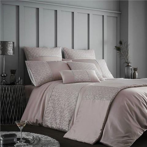 Pink duvet set silver sequin quilt cover & pillow cases luxury bedding