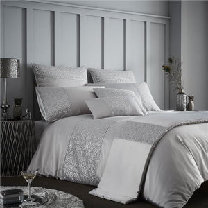 Duvet set grey & silver sequin luxury bedding quilt cover & pillow cases