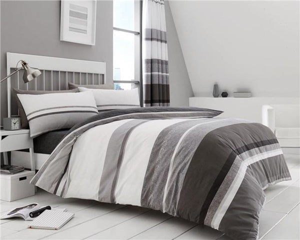 Stripe duvet cover bed sets in taupe grey brown & teal blue