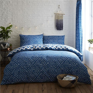 Duvet set blue & white geometric aztec diamond quilt cover bedding