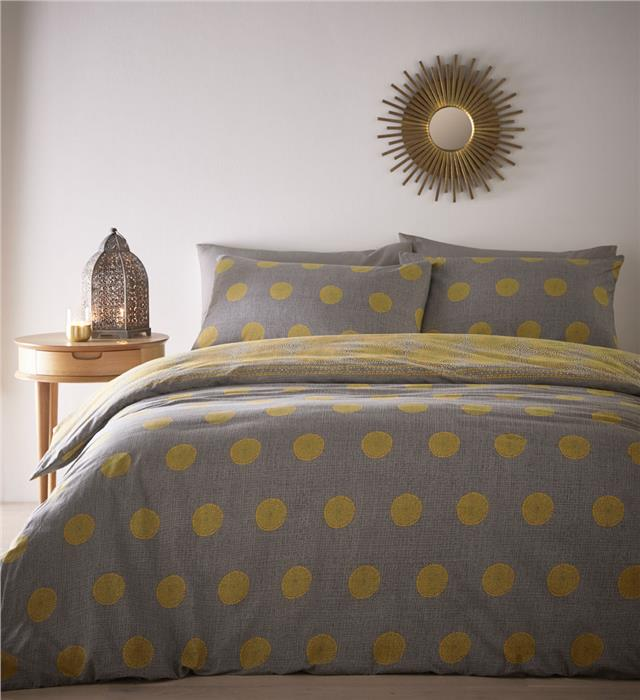 Ochre yellow & grey duvet set moroccan print reversible bedding quilt cover
