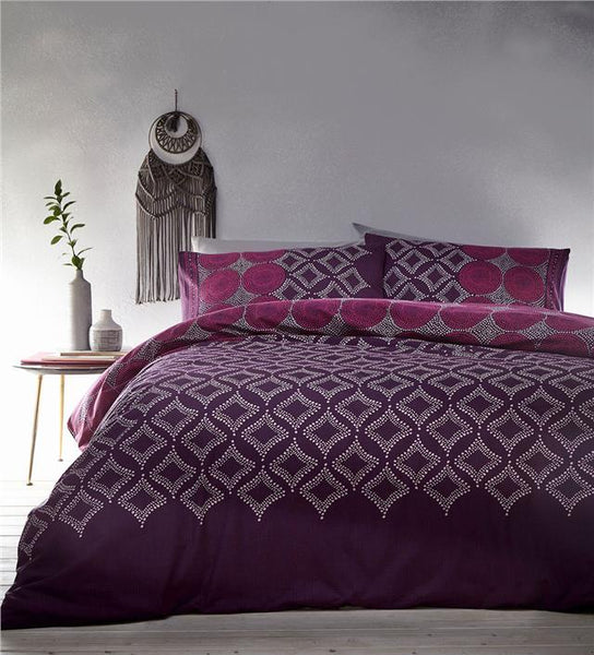 Moroccan duvet set plum purple & pink mosaic print quilt cover ethnic bedding
