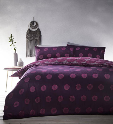 Boho duvet set aubergine plum & pink circle print quilt cover eastern bedding