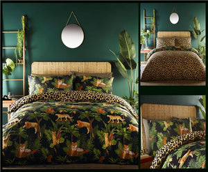 Duvet Sets Jungle Palm Leaf Quilt Cover Tiger Cheetah Leopard Print Bedding