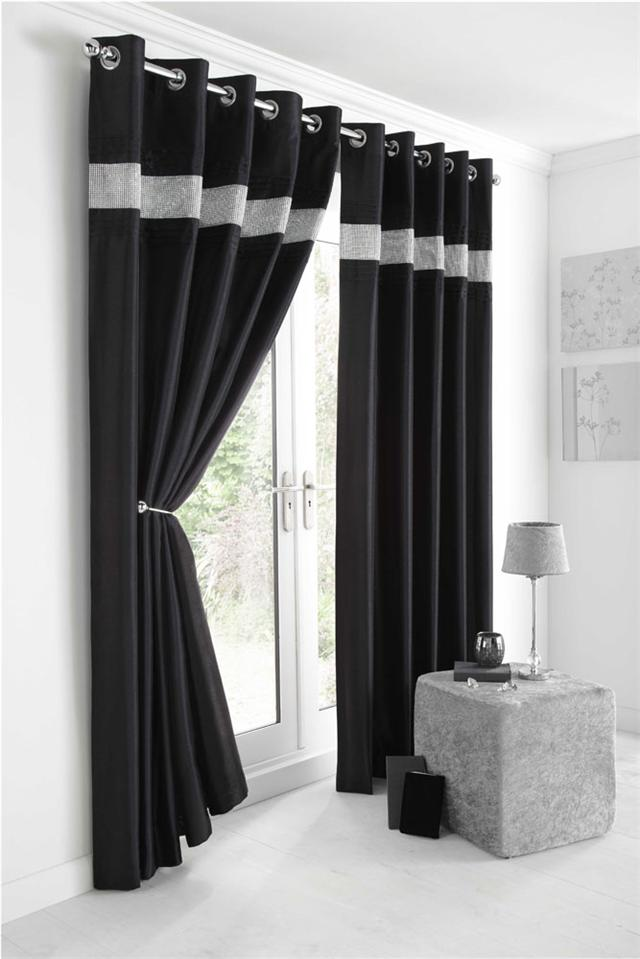 Black curtains eyelet lined curtain rings silver sparkle band