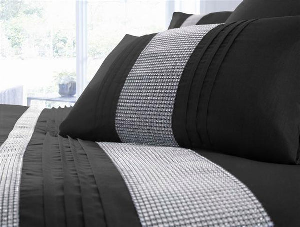 Diamante duvet cover bed sets ( optional cushions runner & lined curtains )