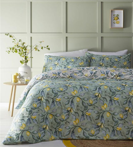 Duvet sets Mediterranean sage green lemon tree quilt cover pillow cases bedding