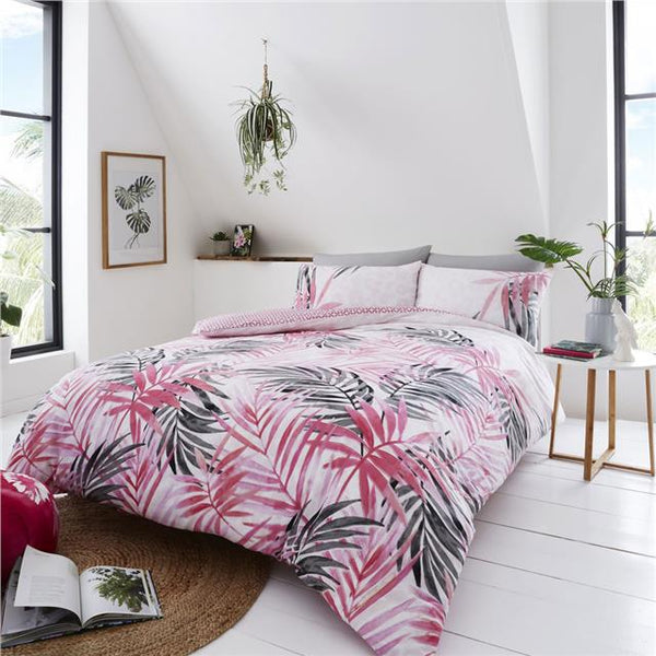 Pink tropical palm leaf & leopard print duvet sets quilt cover bedding