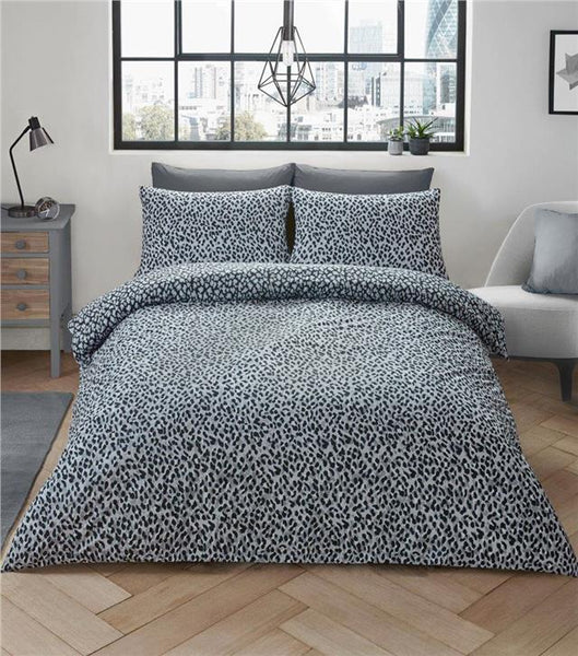 Grey leopard print duvet sets quilt cover bed set animal print bedding