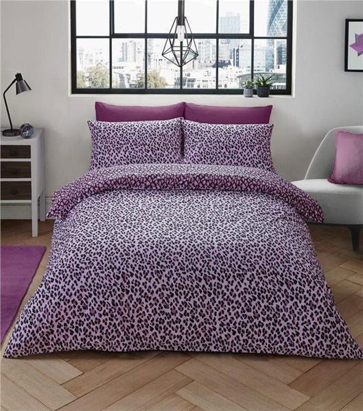 Leopard print pink duvet sets quilt cover bed set animal print bedding