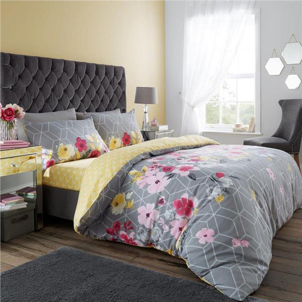 Quilt cover & pillow cases bedding sets navy or grey flower print