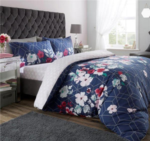 Navy blue bedding duvet set geometric floral quilt cover & pillow cases bedding