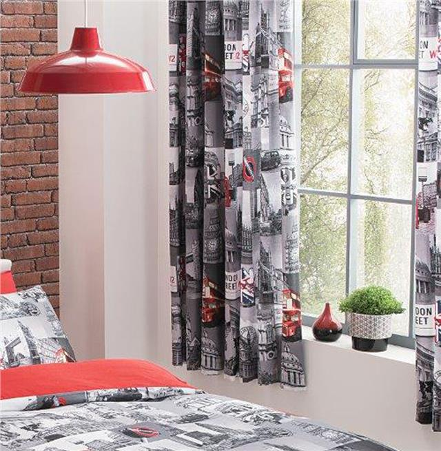 PAIR OF CURTAINS 66 x 72 pencil pleat tape top grey & red London City Design