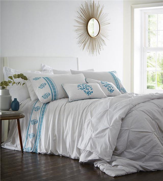 Duvet set grey pinstripe & teal flower bedding quilt & pillow covers