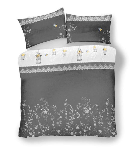 Duvet cover set vintage bird cages white grey & ochre yellow little birds