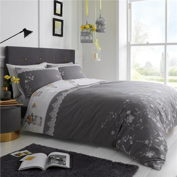 Duvet set vintage birdcage & white lace print grey & ochre yellow bedding