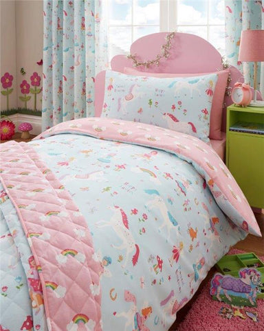 Unicorns fairies & rainbows bedroom range duvet cover sets & curtains available