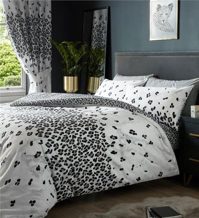 Duvet sets leopard print & grey marble quilt cover pillow cases white bedding