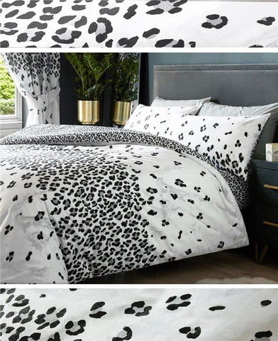 Leopard print duvet cover sets grey black & white bedding