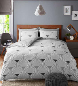 Grey & white duvet set geometric linear bedding quilt cover pillow cases bed set
