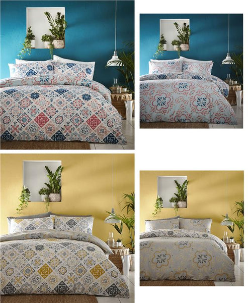 Ethnic duvet sets ochre yellow & grey moroccan tile pattern duvet cover bedding