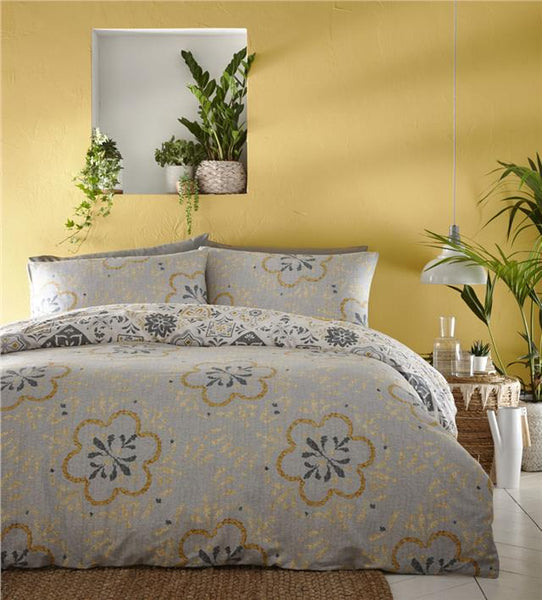 Moroccan bedding eastern nights tile print duvet cover sets ochre yellow or teal