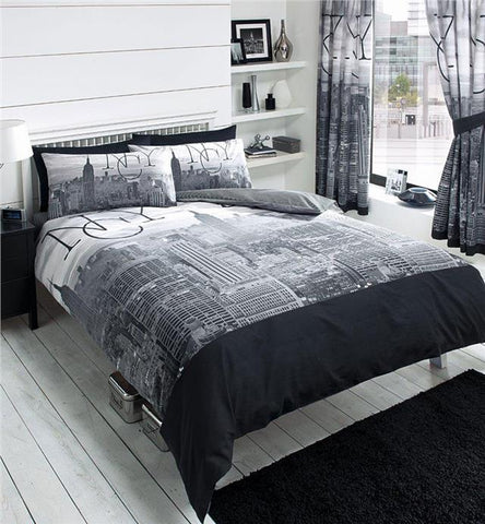 New York KING SIZE duvet set & curtains bed set grey & black NYC bedding