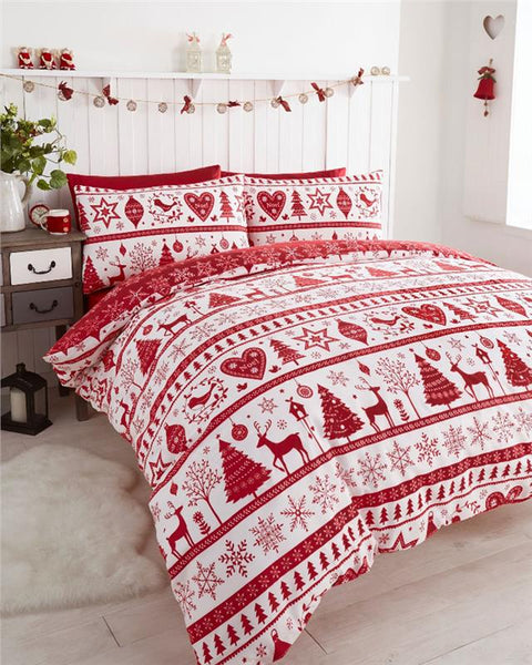 Christmas tree star duvet cover bed sets reindeer stags & hearts decorations