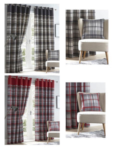 Lined curtains tartan check eyelet ring top curtains red & grey or charcoal & taupe