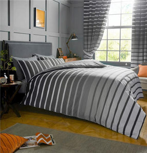 Grey duvet sets stripe quilt cover & pillow cases charcoal grey bedding