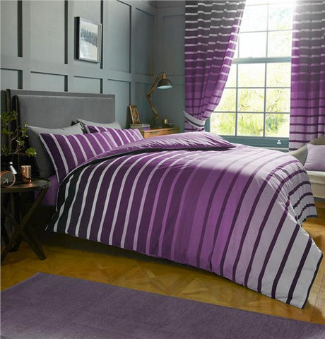 Duvet sets purple & lilac stripe quilt cover & pillow cases contemporary bedding