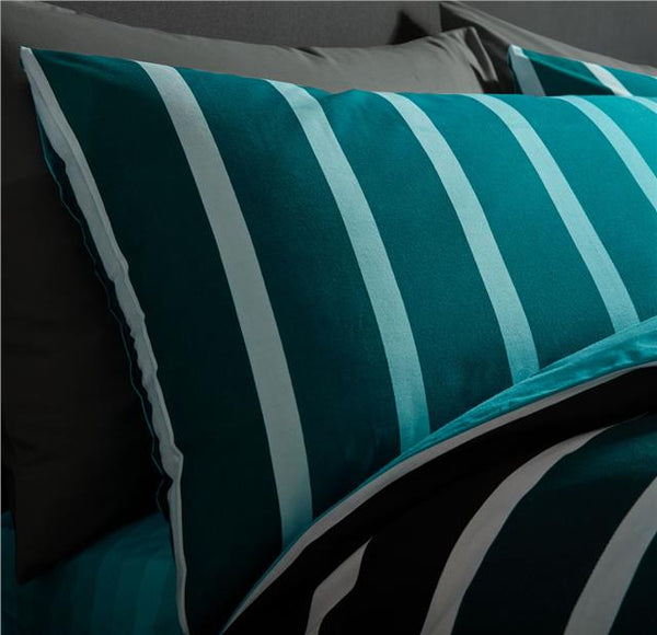 Duvet sets teal stripe quilt cover & pillow cases contemporary bedding