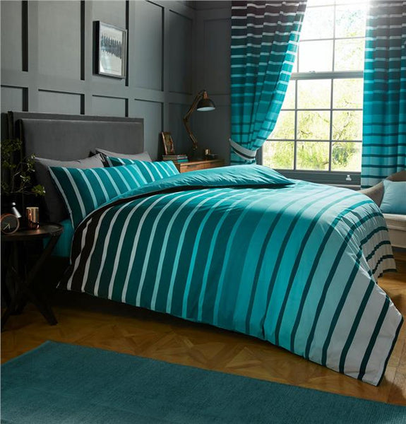 Striped duvet sets in grey teal or purple colours quilt cover & pillow cases