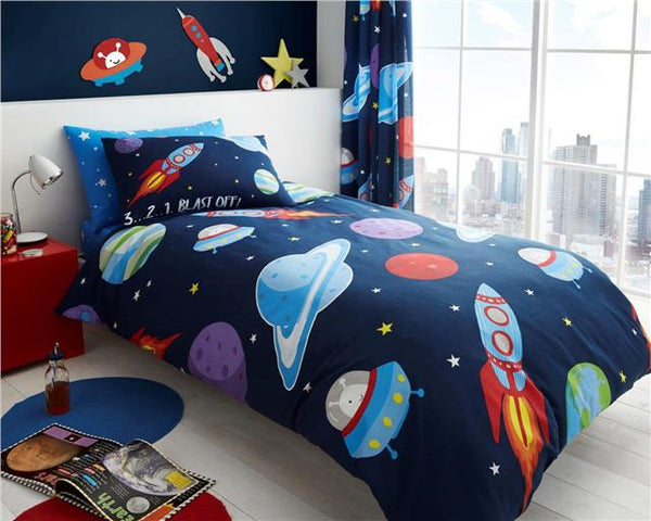 Single duvet set outer space rocket aliens spaceship planets boys bedding cover