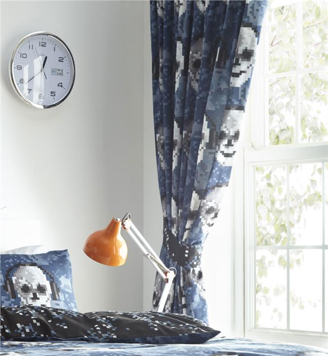 Boys duvet cover sets pixelated skulls bedding & curtains available