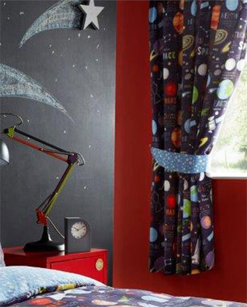 LINED CURTAINS PAIR OF PENCIL PLEAT TAPE TOP CURTAINS Space Planets & Rockets
