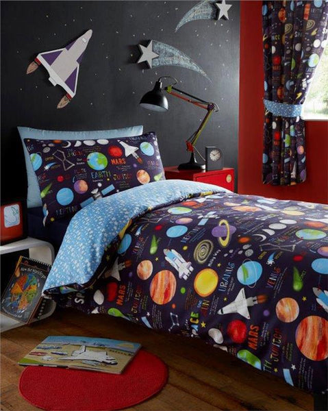 Curtains lined pencil pleat style childrens bedroom outer space planets rockets