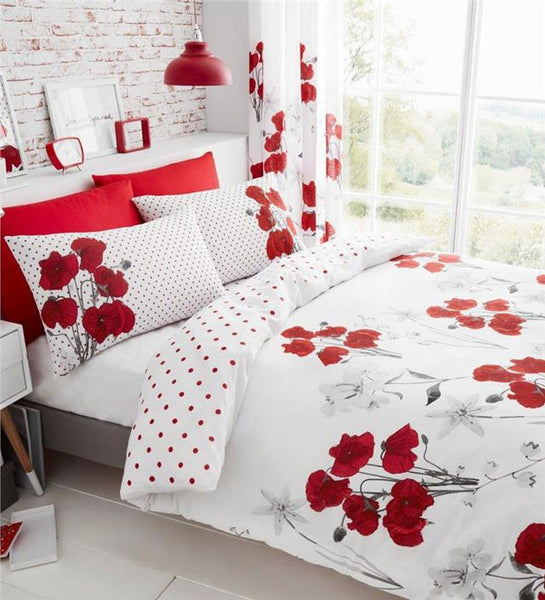 Red poppy duvet cover bedding sets flower print quilt cover & pillow cases