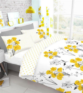 Yellow poppy duvet sets quilt cover & pillow case ochre yellow poppies