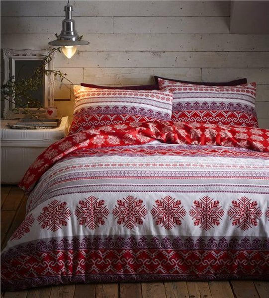 Brushed cotton flannelette duvet sets nordic snowflake bedding quilt cover