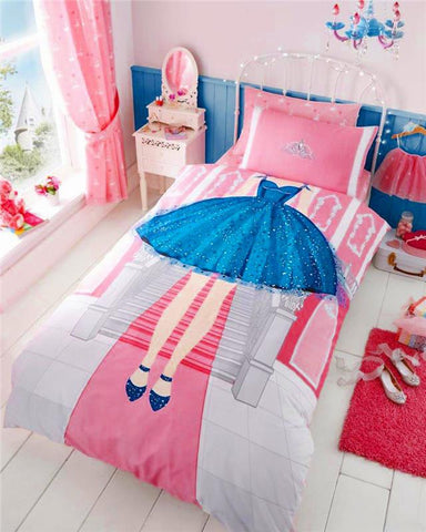 Princess tiara bedding girls pink single duvet set quilt cover & pillow case