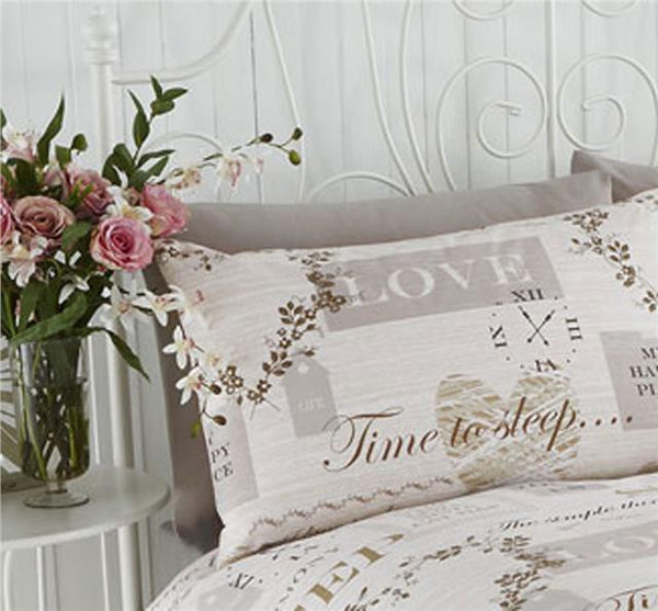 Duvet sets vintage hearts & clocks natural jute shades bed quilt cover sets