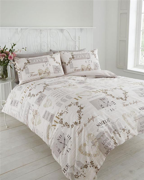 Vintage home duvet sets traditional hearts & clocks neutral bedding quilt covers