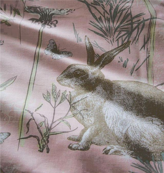 Duvet set rabbit meadow blush pink quilt cover & pillow cases bedding