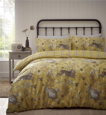 Duvet set rabbit meadow quilt cover & pillow cases check bedding reverse
