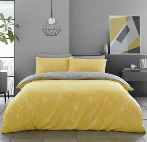 Duvet set ochre yellow grey linear geometric bedding quilt cover pillow cases