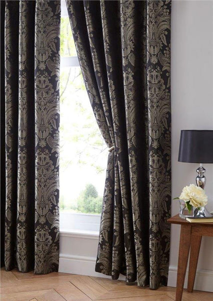 Luxury curtains charcoal black & gold jacquard damask lined pencil pleat