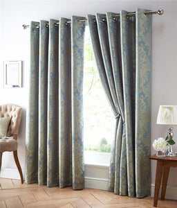 Luxury curtains lined eyelet ring pair blue & gold jacquard damask