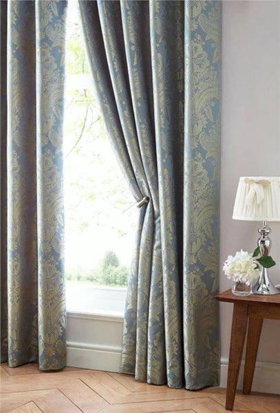 Luxury curtains blue & gold jacquard damask pair lined pencil pleat