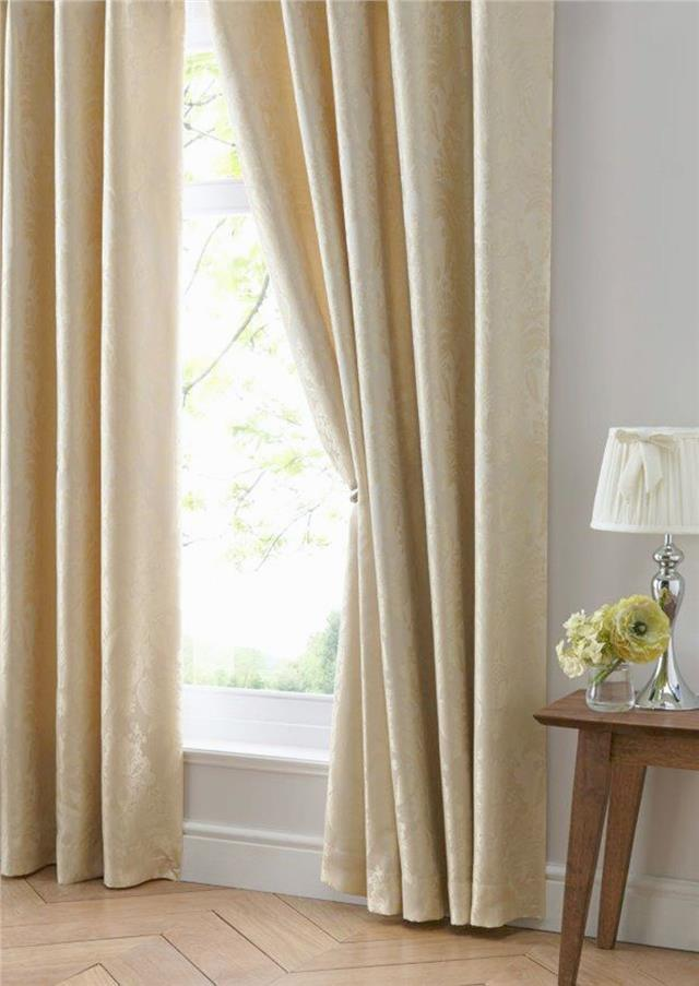 Luxury curtains gold jacquard damask pair lined pencil pleat